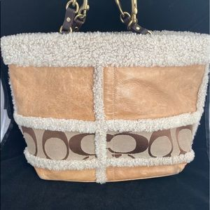 Coach Leather & Canvas Shearling Bag